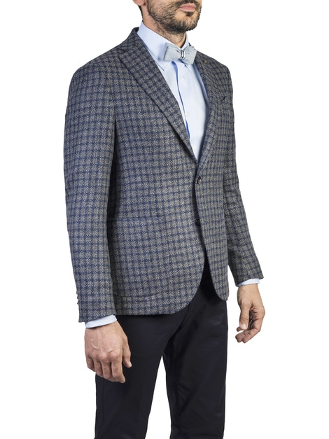 blue checked design brescia jacket