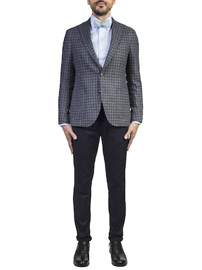 blue checked design brescia jacket