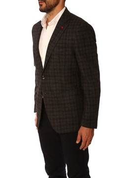 Dark grey and bordeaux double overcheck jacket