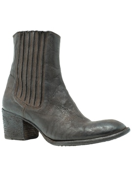 Ebony buffalo leather half boots