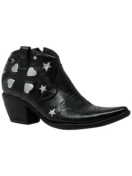 Black buffalo ankle boots with contrast details