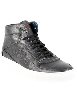 Black soft calf brusched leather shoes