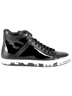 Black patent leather sneakers