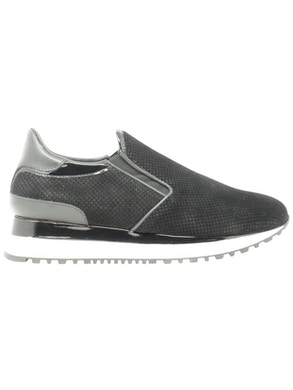 black slip-on sneakers shoes