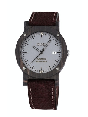Ebano Wood and brown leather watch