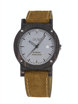 Ebano Wood and vintage brown leather watch