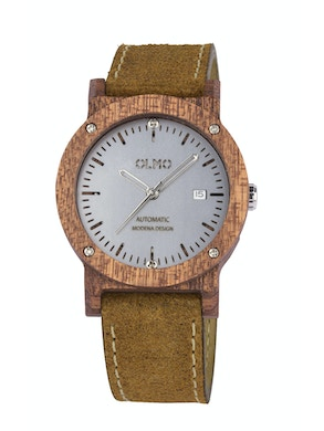 Mahogany Wood and vintage brown leather watch