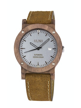 Walnut Wood and vintage brown leather watch