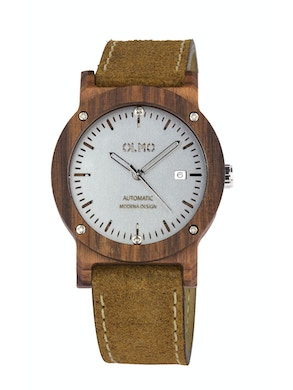 Rosewood and vintage brown leather watch