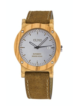 Olive Wood and vintage brown leather watch