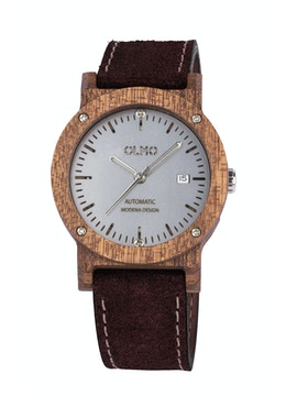 Mahogany Wood and brown leather watch