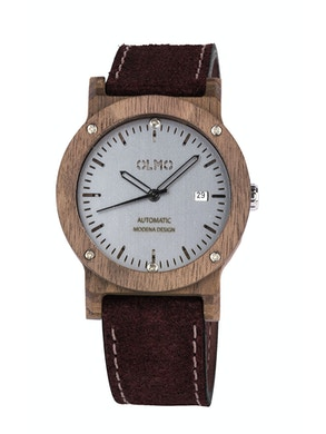 Walnut Wood and brown leather watch