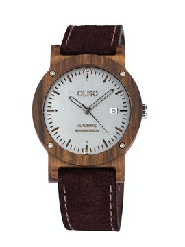Rosewood and brown leather watch