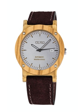 Olive Wood and brown leather watch