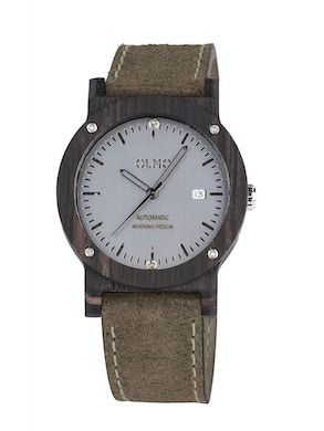 Ebano Wood and taupe leather watch