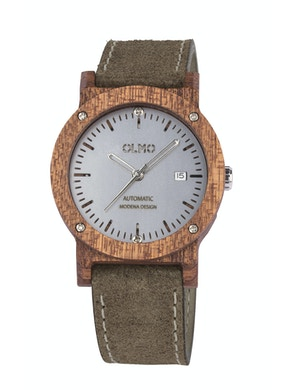 Mahogany Wood and taupe leather watch