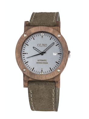 Walnut Wood and taupe leather watch