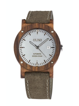 Rosewood and taupe leather watch