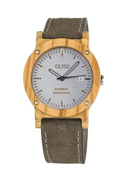 Olive Wood and taupe leather watch