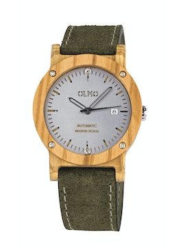 Olive Wood and green leather watch