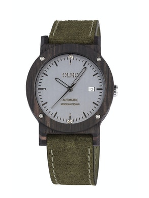 Ebano Wood and green leather watch