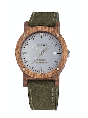 Mahogany Wood and green leather watch