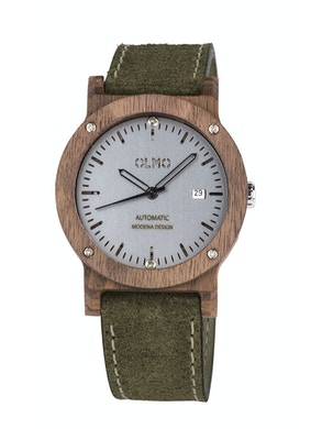 Walnut Wood and green leather watch