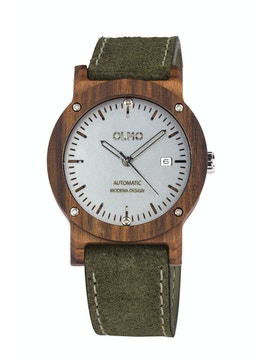 Rosewood and green leather watch