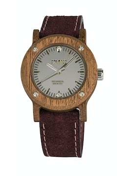 Slim Mahogany Wood and vintage bordeaux leather watch