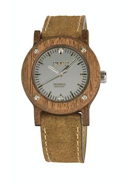 Slim Mahogany Wood and vintage brown leather watch