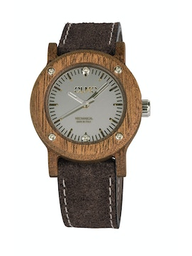 Slim Mahogany Wood and brown leather watch