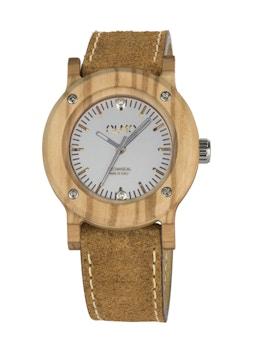 Slim Olive Wood and vintage brown leather watch