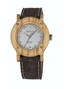 Slim Olive Wood and brown leather watch