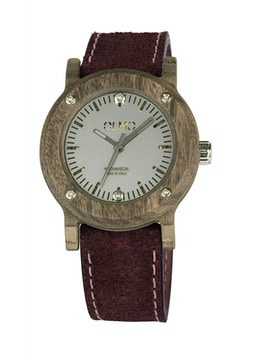 Slim Walnut Wood and bordeaux leather watch