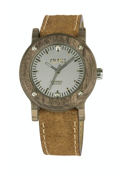 Slim Walnut Wood and vintage brown leather watch