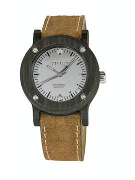 Slim Ebano Wood and vintage brown leather watch
