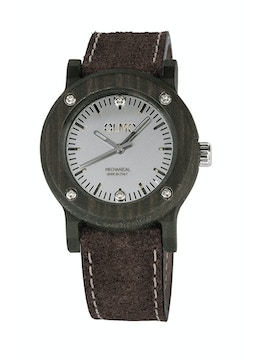 Silm Ebano Wood and brown leather watch