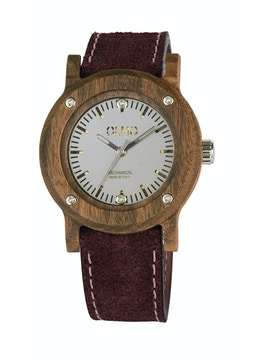 Slim Rosewood and bordeaux leather watch
