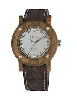 Slim Rosewood and brown leather watch
