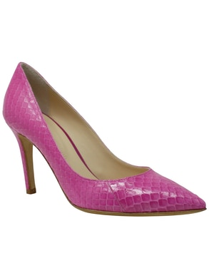 fuchsia leather décolleté shoes