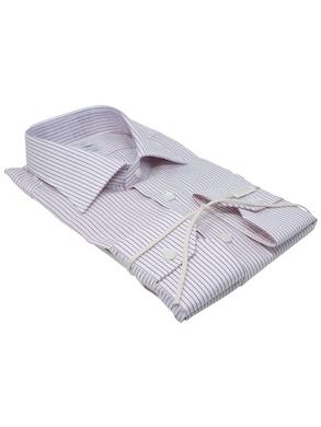 Red stripe shirt Semispread collar