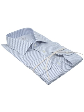 Blue stripe shirt Semispread collar