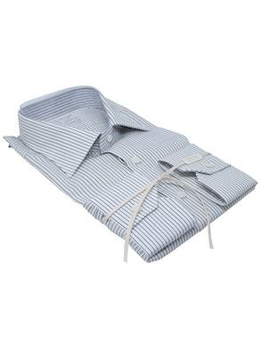 Black stripe shirt Semispread collar