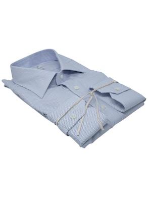 Blue dash shirt Semispread collar