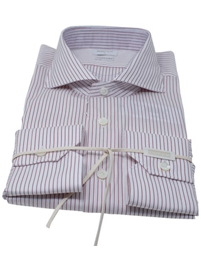 Red stripe shirt French collar