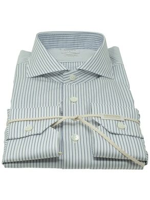 Blue stripe shirt French collar