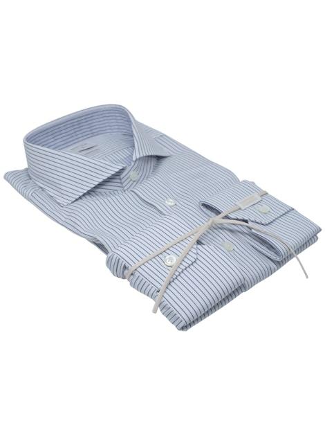 Blue stripe shirt French collar