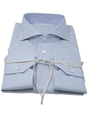 Camicia trattino blu collo Francia piccolo