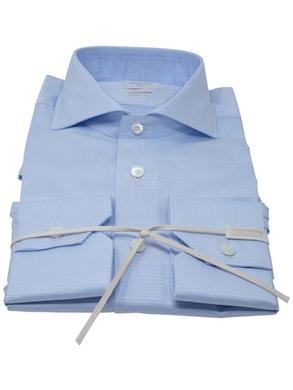Blue plot shirt French collar