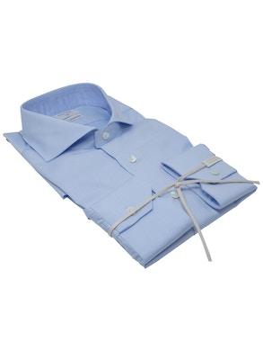 Camicia trama azzurro collo Francia piccolo